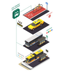 Public transportation isometric concept vector