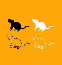 Rat black and white set icon vector