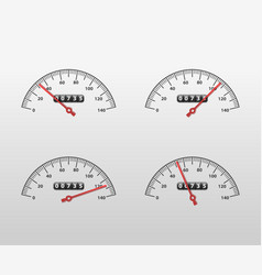 realistic detailed 3d car speedometer panel vector image