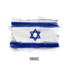 Realistic watercolor painting flag of israel vector