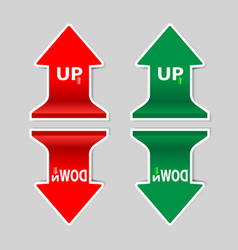 red and green up down signs arrow with shadow vector image