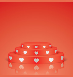 Red romantic scene with white hearts vector