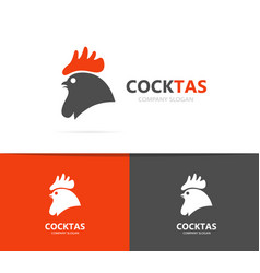 Red rooster and cock logo combination vector
