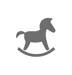 rocking horse grey icon isolated on white vector image