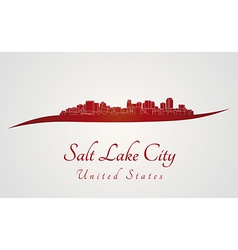 Salt Lake City skyline in red vector image