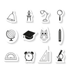school set sticker icons vector image