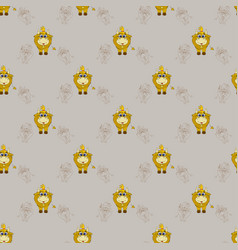seamless pattern with a cute horned animal - a vector image