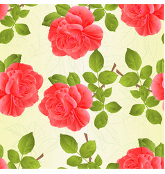 Seamless texture rose pink and leaves vintage vector