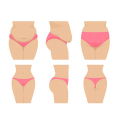 Set female waist before after losing weight vector