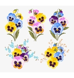 Set of pansy bouquets vector