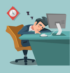 Sleeping businessman tired business man at work vector