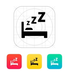 Sleeping in bed icon vector