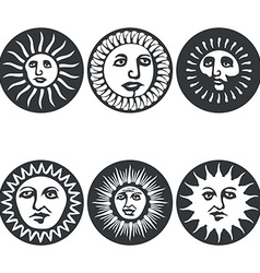 Sun faces vector image