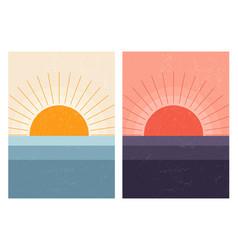 sunset sunrise in sea abstract mid-century modern vector image