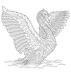 Swan adult coloring page vector