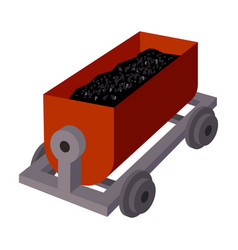 The red cart on wheels for lifts minerals from vector