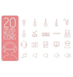 Thin line music set icons concept design vector