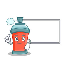Thumbs up with board aerosol spray can character vector