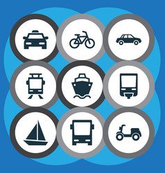 Transportation icons set collection of yacht vector
