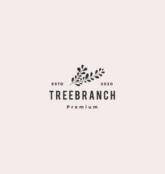 Tree branch leaf logo hipster vintage retro icon vector