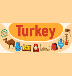 turkey concept banner cartoon style vector image