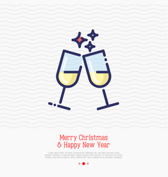 Two glasses champagne thin line icon vector