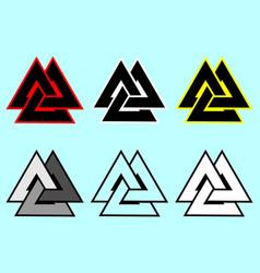valknut symbol triangle logo vector image
