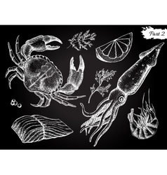 vintage hand drawn seafood set vector image