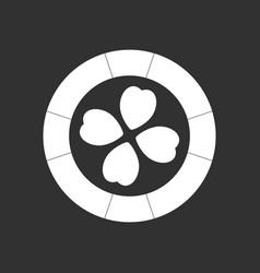White icon on black background casino chip vector