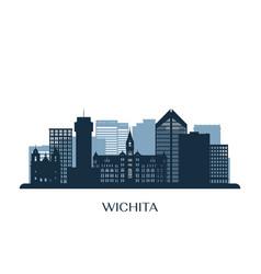wichita skyline monochrome silhouette vector image