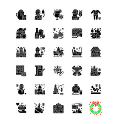 Winter fun black glyph icons set on white space vector