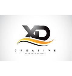 Xd x d swoosh letter logo design with modern vector