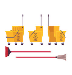 yellow floor cleaning cart and mop vector image