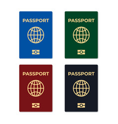 biometric passport set isolated vector image vector image