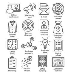 Business management icons in line style Pack 12 vector image vector image