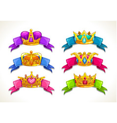 cartoon golden crowns on the colorful ribbons vector image