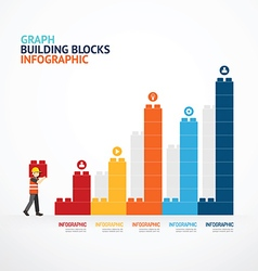Infographic template with building blocks graph vector