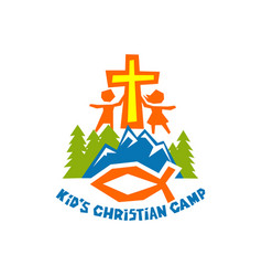 logo of kids christian camp vector image vector image