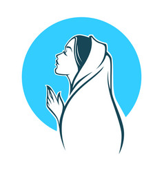 portrait of virgin mary for your logo label vector image
