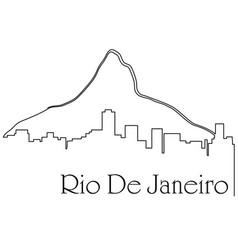 Rio de janeiro city one line drawing vector