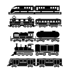 Train sky train subway icons set vector image vector image