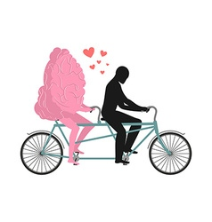 Brain on tandem Lovers of cycling Man rolls mind vector image