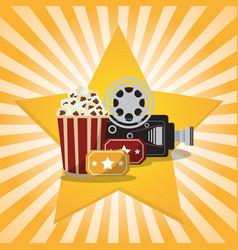 Cinema pop corn tickets camera star background vector