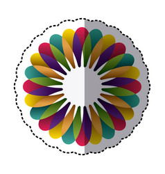 colorful flower with petals icon vector image vector image