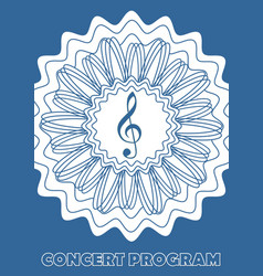 Concert program cover template with treble clef in vector