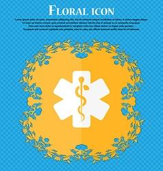 Medicine icon Floral flat design on a blue vector image vector image