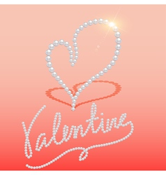 background with heart made of pearls vector image vector image