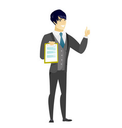 groom with clipboard giving thumb up vector image