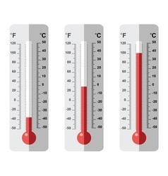 Set of flat thermometer icons vector