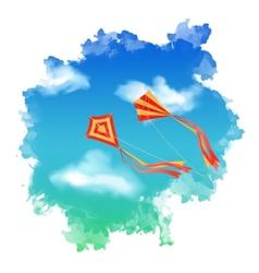 Sky kite watercolor vector